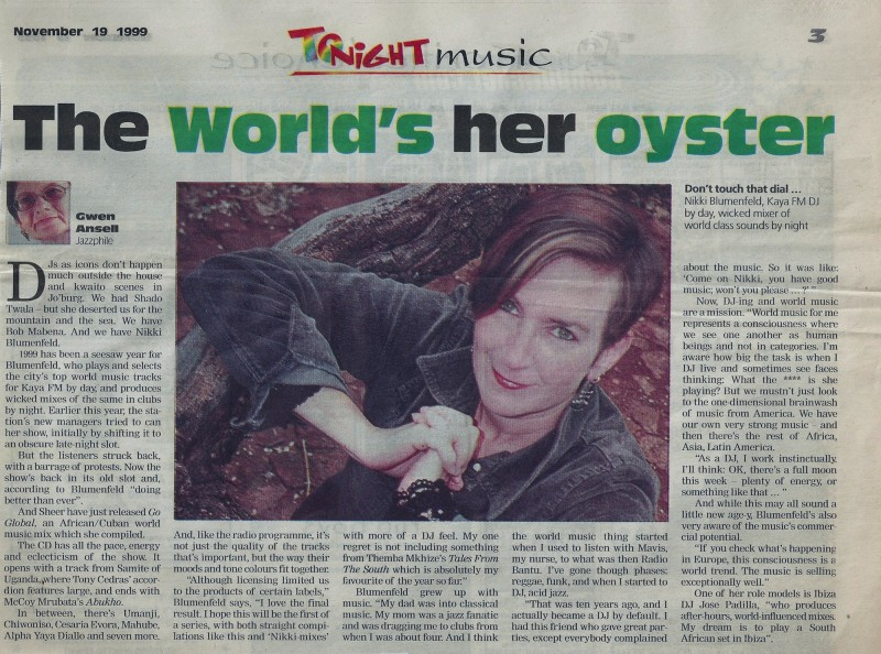 The world is her oyster - Tonight Music 1999